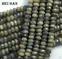 Natural Labradorite 4 8mm Faceted Rondelle Charm European Bead Bracelet Beads Jewelry Making Gift