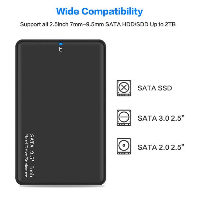 Black 2 5 Inch HDD Box USB 3 0 SATA Hard Drive External Enclosure High Speed HDD Case Support Up To 2TB Without Screws For PC tanie i dobre opinie Dziewiąty świat sata usb 3 0 2 5 w Plastikowe Godzin Czarny 0 1lb 0 17lb
