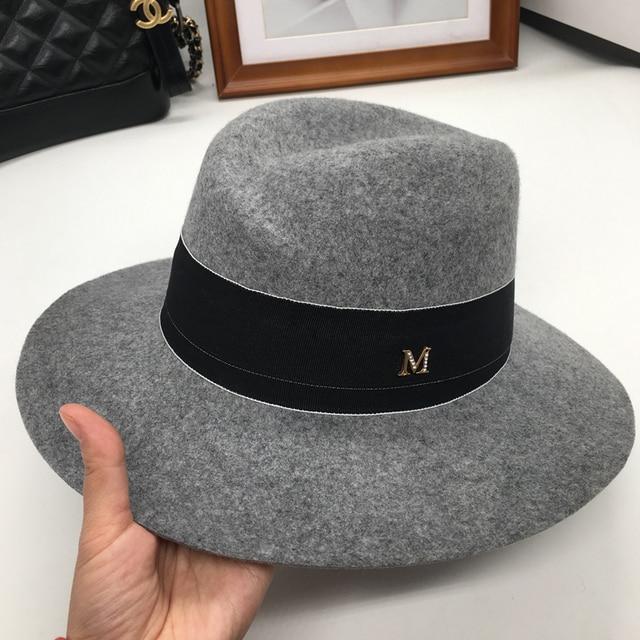 f6d6cfb2f4f01 Double grey fedora bucket hats dome wool hat M wide-brim elegant leisure cap