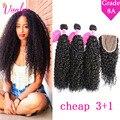 8A Malaysian Hair Weave Bundles Kinky Curly Virgin Hair With Closure 3 Bundles Light Brown Malaysian Curly Hair With Closure 1B