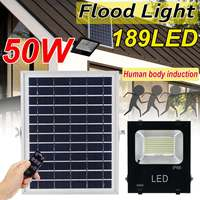 50W Solar Light PIR Motion Solar Power Sensor 189 Led Floodlight with Solar Panels 3 Modes Outdoor Garden Security Lamp with RC