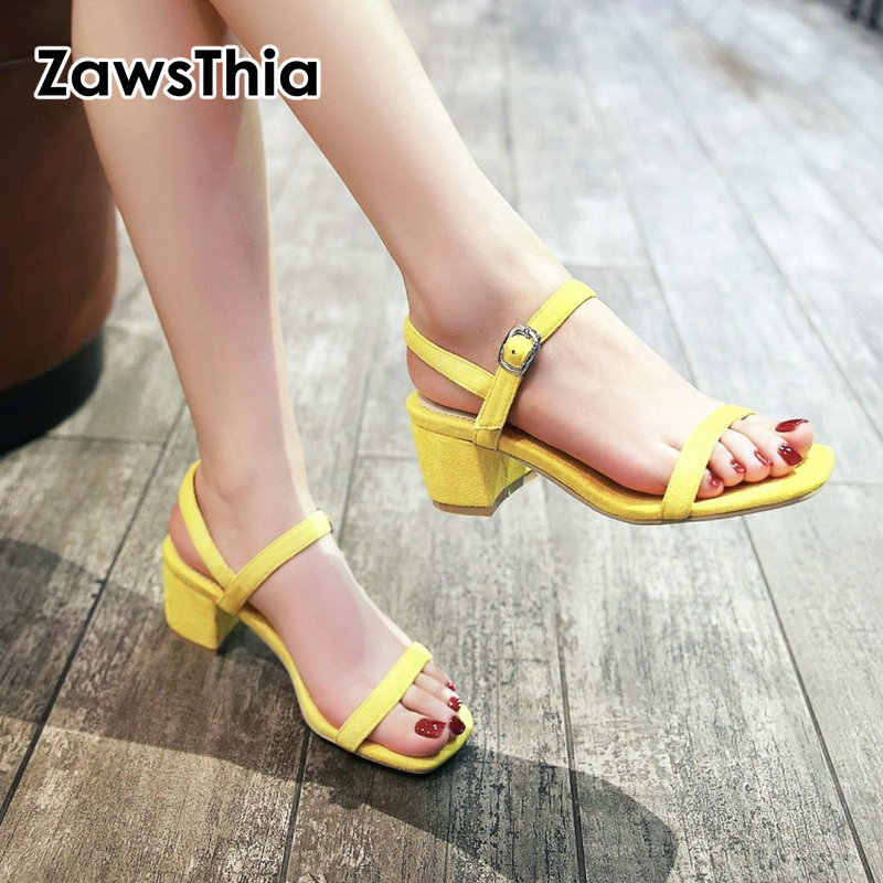 ZawsThia 2019 summer ladies open toe chunky square high heels sandals women  ankle wrap buckle yellow b816776e3cab