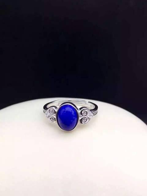 Natural blue lapis lazuli gem anel 925 sterling silver moda Anel De pedras preciosas Naturais Elegantes nuvens mulheres homens Jóia do presente do partido