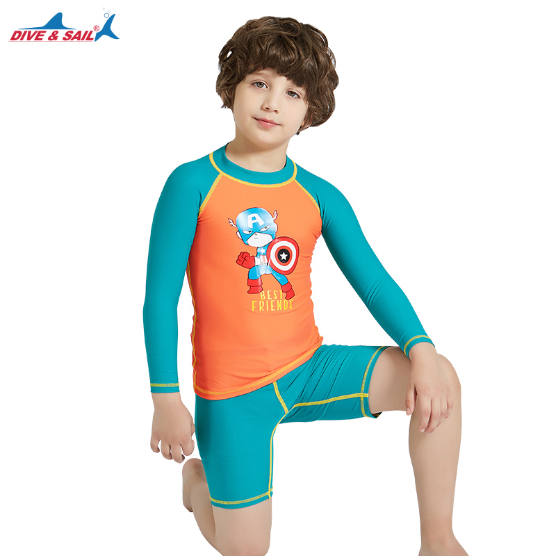 5d6ae5bbdc Detail Feedback Questions about Boys Swimsuits Two Piece Swimming Suit UPF  50+ Rashguard Print 2 piece Set Long Sleeve Sun UV Protection Kids Rash  Guard ...