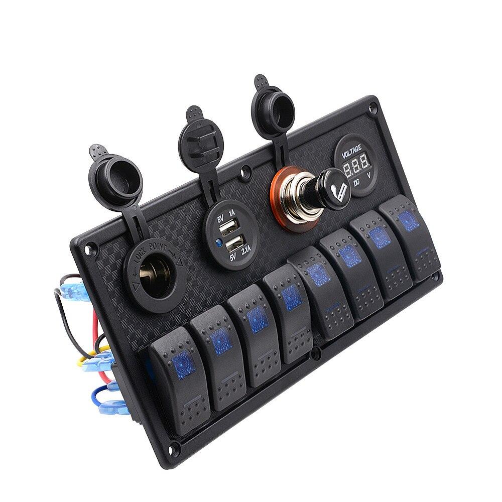 ФОТО AUTO 8 Gang 24 CM Waterproof Marine Blue Led Switch Panel With Power Socket Circuit Breakers Switch 12V metal switch OC 24