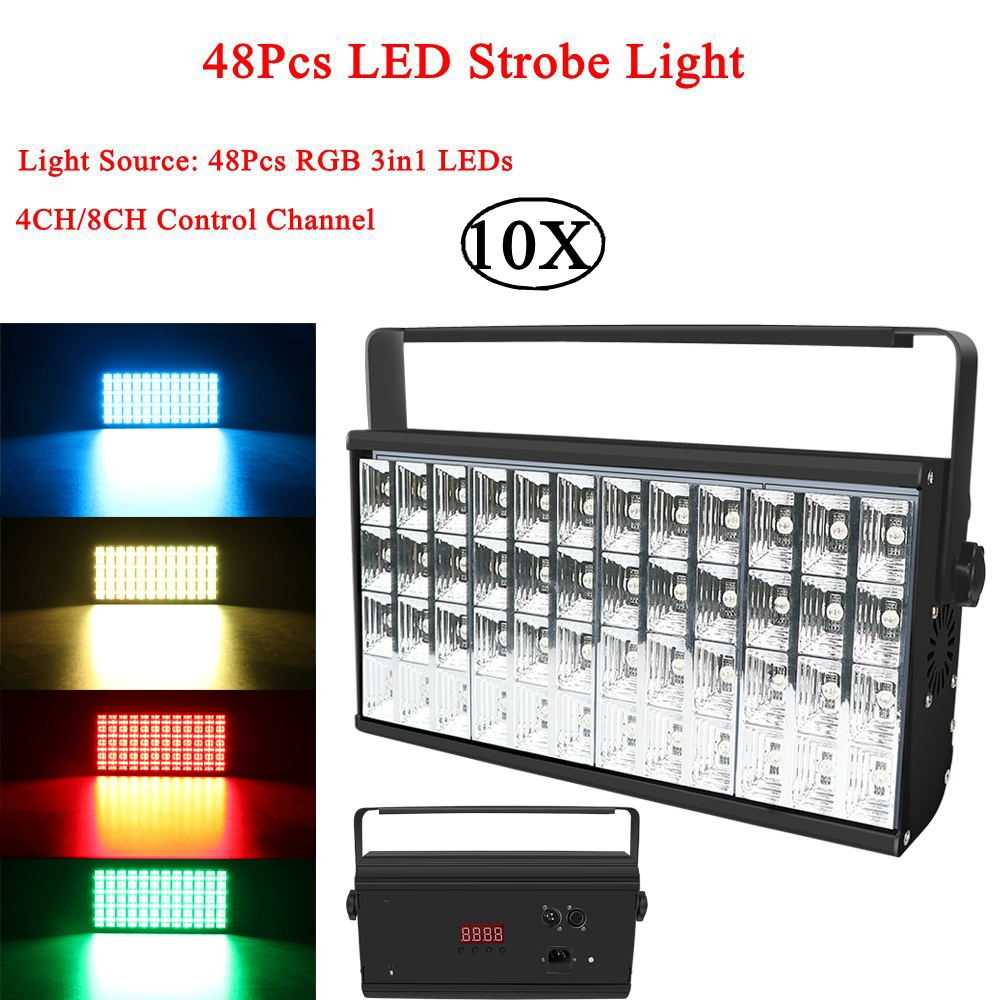 10Pcs/Lot 48Pcs LEDs Strobe Flash Light Portable 90W RGB 3IN1 Sound Control Strobe Lights For Stage Disco DJ Bar Party Club|Stage Lighting Effect| |  - title=