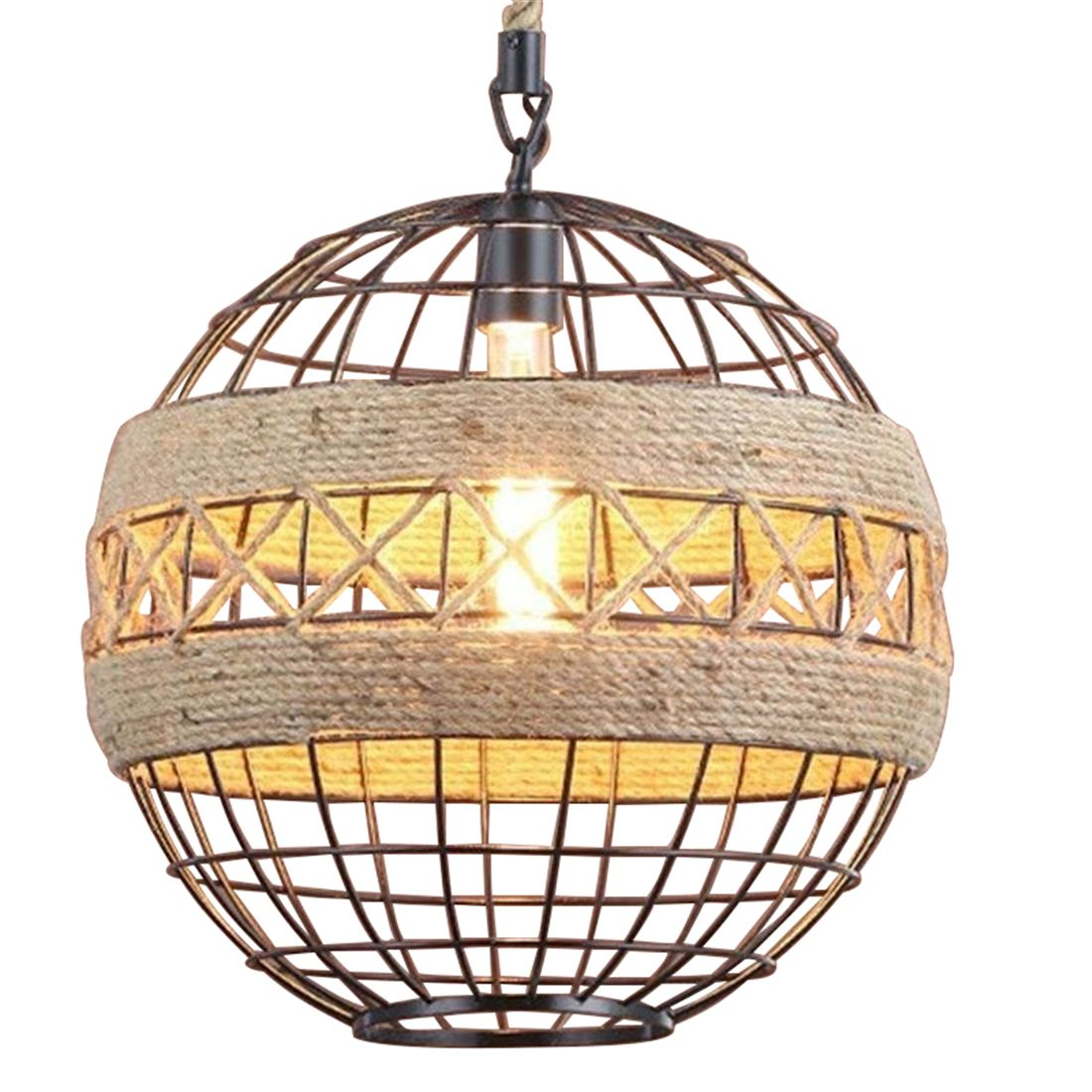 Country retro rope industrial wind chandelier Internet cafe restaurant cafe bar ball personalized lamps european rural bird marble hemp rope chandelier cafe restaurant corridor balcony chandelier size 33 38cm e27 ac110 240v