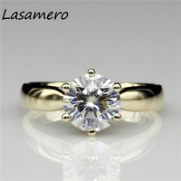 Round 2ct Lab Created Diamond Starling Solitaire 14k Yellow Gold Engagement Ring Esdomera Moissanites Wedding Rings
