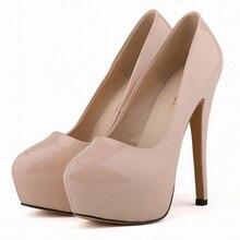 Big Size Women stylish Nightclub High Heels Platform patent leather Round Toe Pump Ladies Bridal Party Dress Shoes Sapatos w818