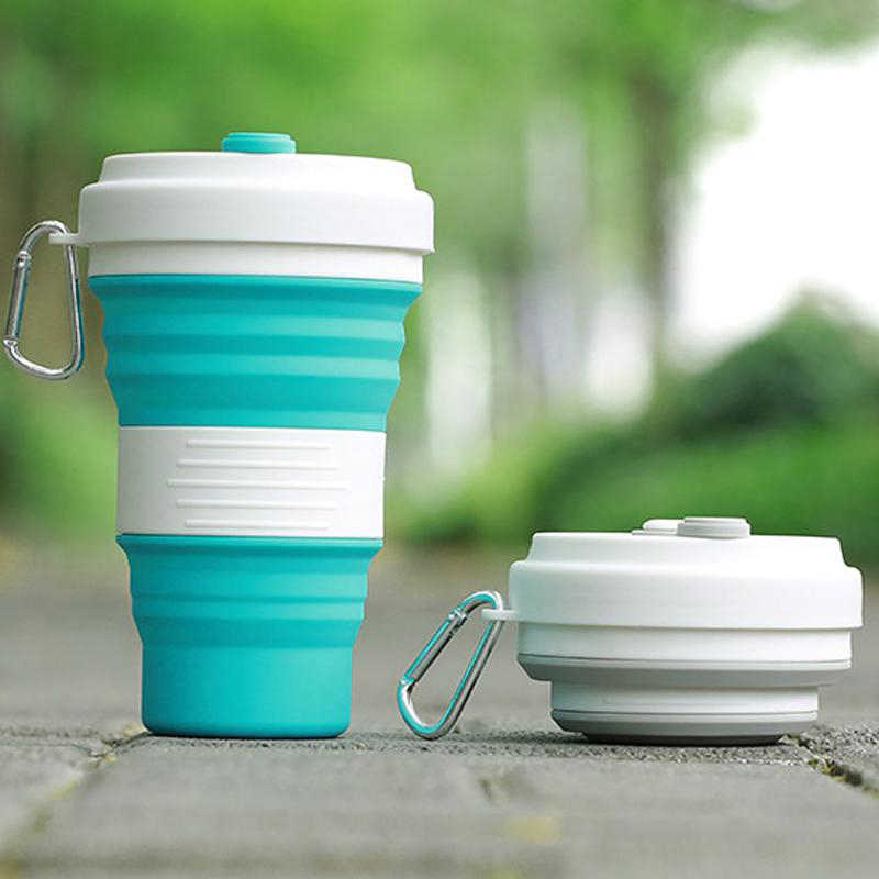 550ML Folding Coffee Cup Portable Sports Compression Outdoor Retractable Kettle Anti-scalding
