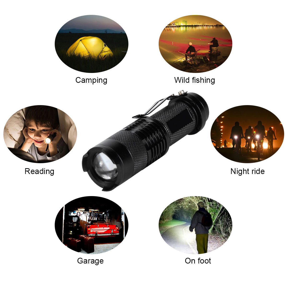 Mini High Powered Tactical Handheld LED Flashlight 3 Modes Zoomable Waterproof Portable Flashlight 14500/AA Battery --M25