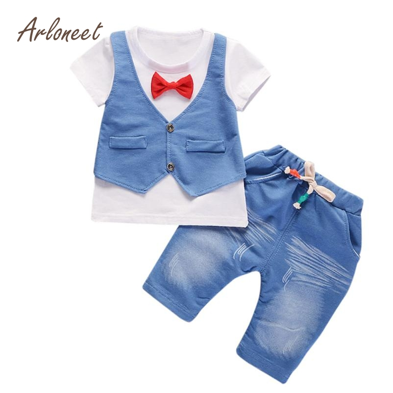ARLONEET Fashion Boy 1Set Summer Kids Baby Boys Outfits Short Sleeve T-shirt Pants Gentleman Clothes Set 2018 Dropshippig Fre28 new 2018 spring fashion baby boy clothes gentleman suit short sleeve stitching plaid vest and tie t shirt pants clothing set