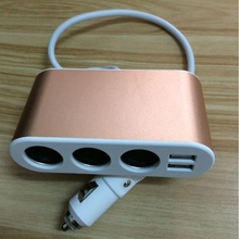 New 120W 5V 3 Way Car Cigarette Lighter Socket Adapter With Dual USB Interfaced Car charger for iPhone sumsung