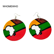 Tribal Wood Africa Map Continent Colorful Painting Geometric Round Vintage Earring Women Wooden African Bohemia Afro Ear Jewelry