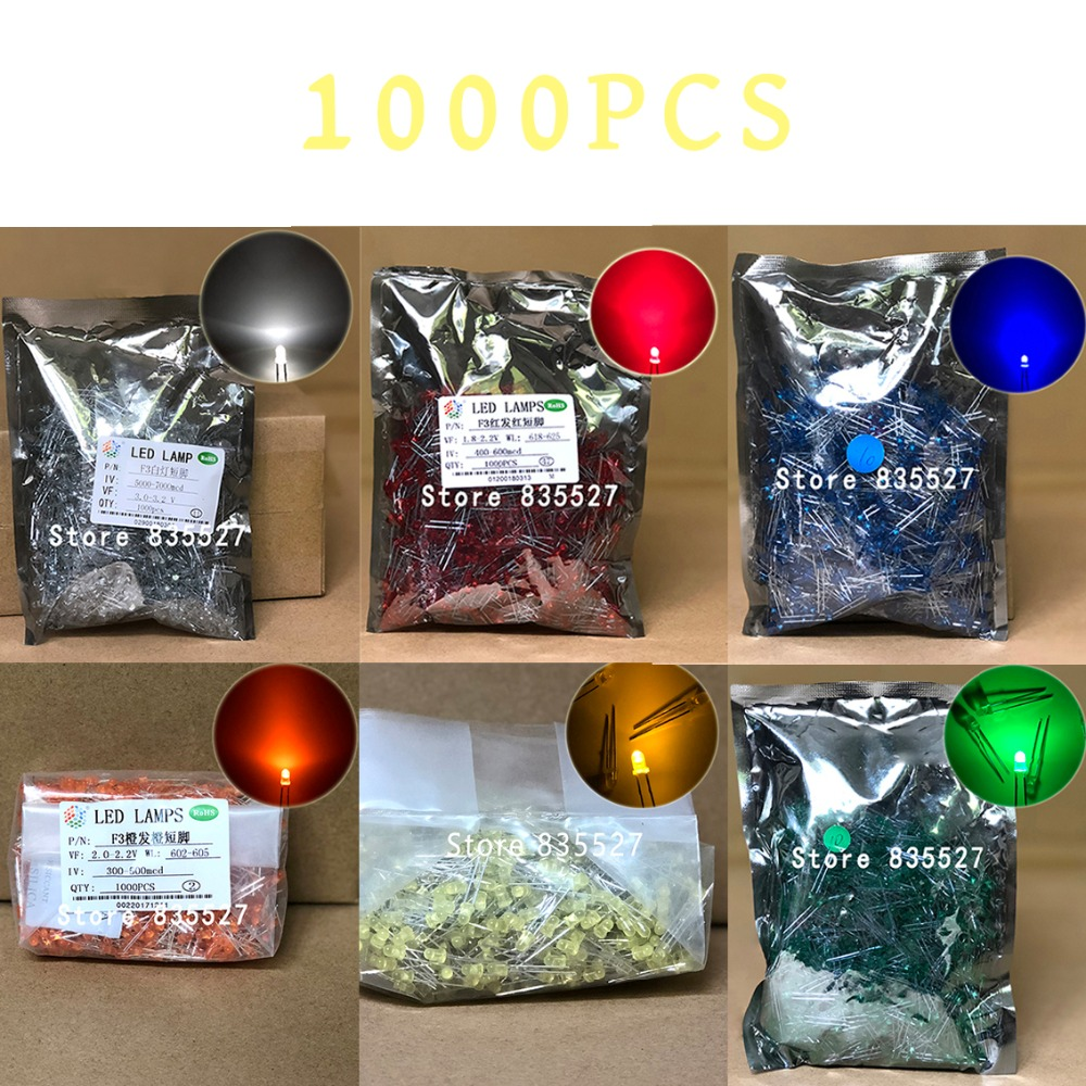 1000pcs/lot 3MM In The Color Arbitrary Selection White / Orange / Green / Red / Blue / Yellow  LED Light Emitting Diode F3 DIP