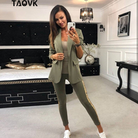 TAOVK Spring Autumn Women Tracksuit Side Sequins Patchwork 2 Piece Set Turn down Collar Blazer Jacket + Long Pants Suits Outwear