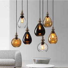 Vintage Glass Pendant Lights Nordic Loft Led Pendant Lamp Coffee lustre Dinning Room Decor Hanging Lamp Suspension Luminaire