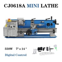 MINI Lathe CJ0618A 7X14 blue accessory package metal turning milling digital for wood working