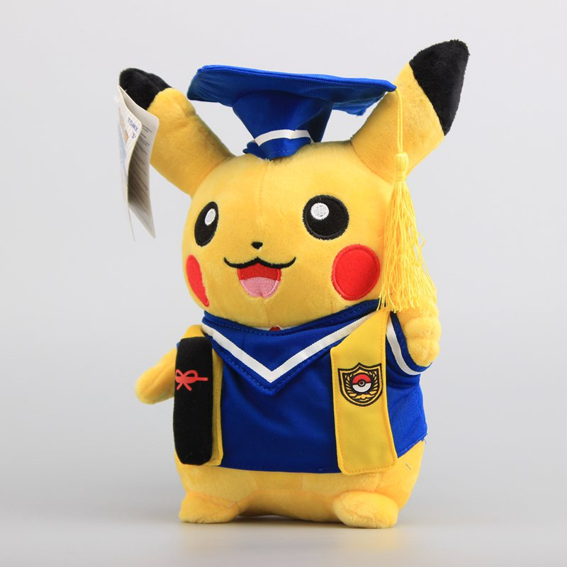 купить 25cm Kawaii Anime Pikachu Cosplay Graduate Fitting Plush Toy Pikachu Peluche Stuffed Doll Gift For Kids' Christmas Free Shipping недорого