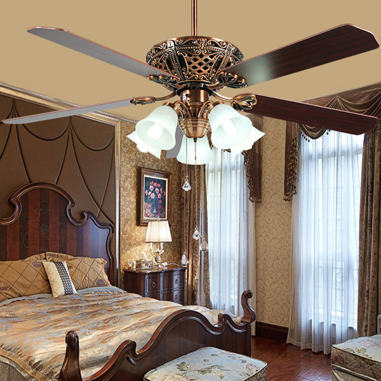 52/60 inch vitro Ceiling Fan Lamp with 5 wood Blades 3 Speed Remote Control Quiet Energy Saving Decoration Fan lamp 220V52/60 inch vitro Ceiling Fan Lamp with 5 wood Blades 3 Speed Remote Control Quiet Energy Saving Decoration Fan lamp 220V