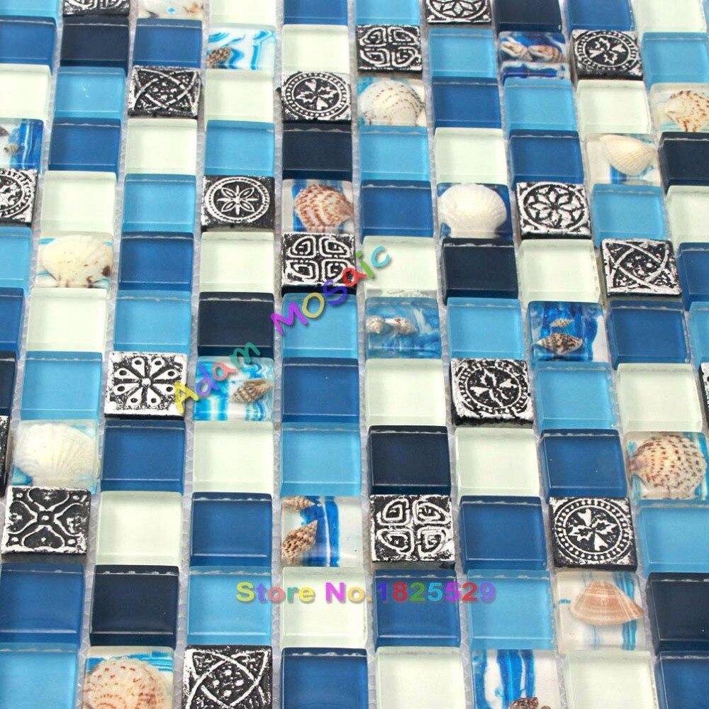 Navy Blue White Glass Conch Tile Beach Style Kitchen Backsplash Home ...