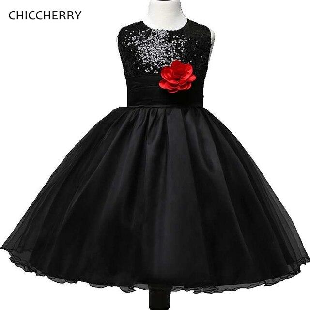 Schwarz Geburtstag Kinder Outfits Blume Kinder Party Kleid Bowknot Kind  Mädchen Abendkleider Robe Princesse Fille Jugendliche 6f368867f1