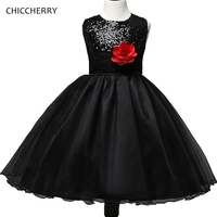 Zwarte Verjaardag Kids Outfits Bloem Kinderen Feestjurk Strik Kind Meisje Avondjurken Robe Princesse Fille Tieners Kleedt