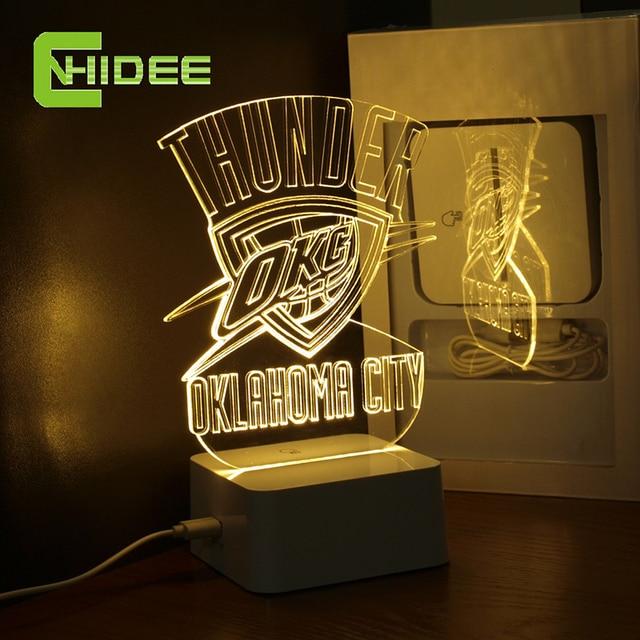 CNHidee USB Novelty Creative Holiday Gifts for Thunder NBA Desk light Oklahoma City 3D Night Light as Bedroom Lampara