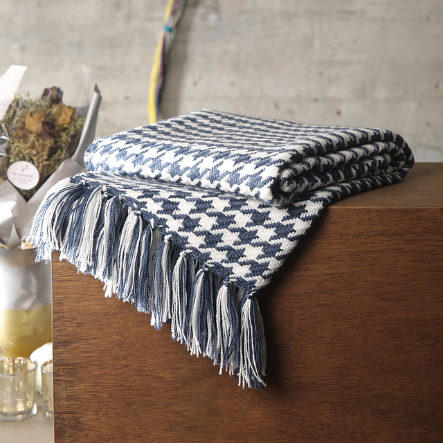 Adream Acrylic Fabric Blanket Houndstooth Pattern Knitted Quilt Sofa