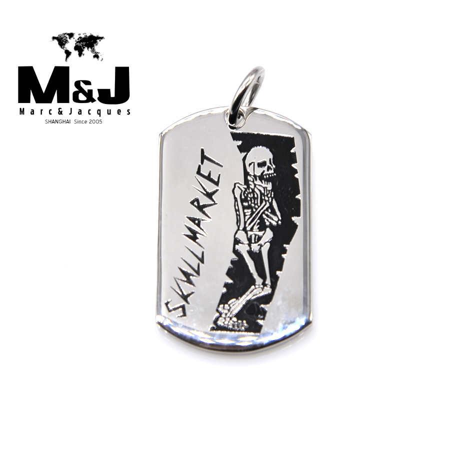 WITH RANDOM Gift Chain New Skull market stainless steel pendant soldiers tag fine jewelry vintage Punk