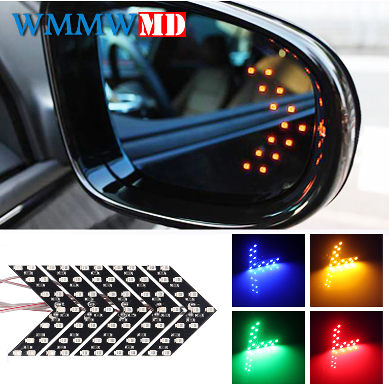 1 piece <font><b>14</b></font> <font><b>SMD</b></font> LED Arrow Panel For Car Rear View Mirror Indicator Turn Signal Light Car LED Rearview Mirror Light Car Styling image
