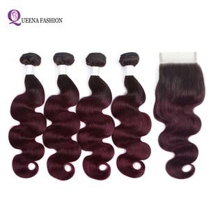 Ombre 4 wiązki z zamknięciem wstępnie kolorowe peruwiański ciało pasma falowanych włosów 1b 99j Two Tone kolor 100% ludzkie włosy z koronka zamknięcie
