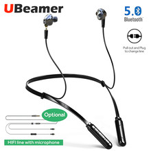 Ubeamer BT-MN Bluetooth v5.0 earphone Double Dynamic circle changeable wire true 4D for sports and music(Upgrade model of M2)(China)