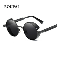 44c8d0ff9 ROUPAI Steampunk Goggles Sunglasses Unisex Round Metal Sunglasses Steampunk  Men Women Fashion UV400 Protection Sun Glasses