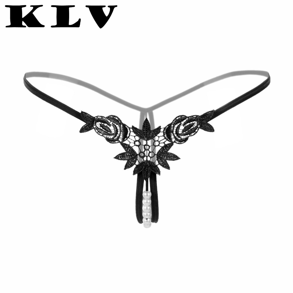 KLV Women Lingerie Sexy Hot Erotic Lady Embroidery G-string Pearl V-string Panties Knickers Lingerie Underwear Interior Mujer