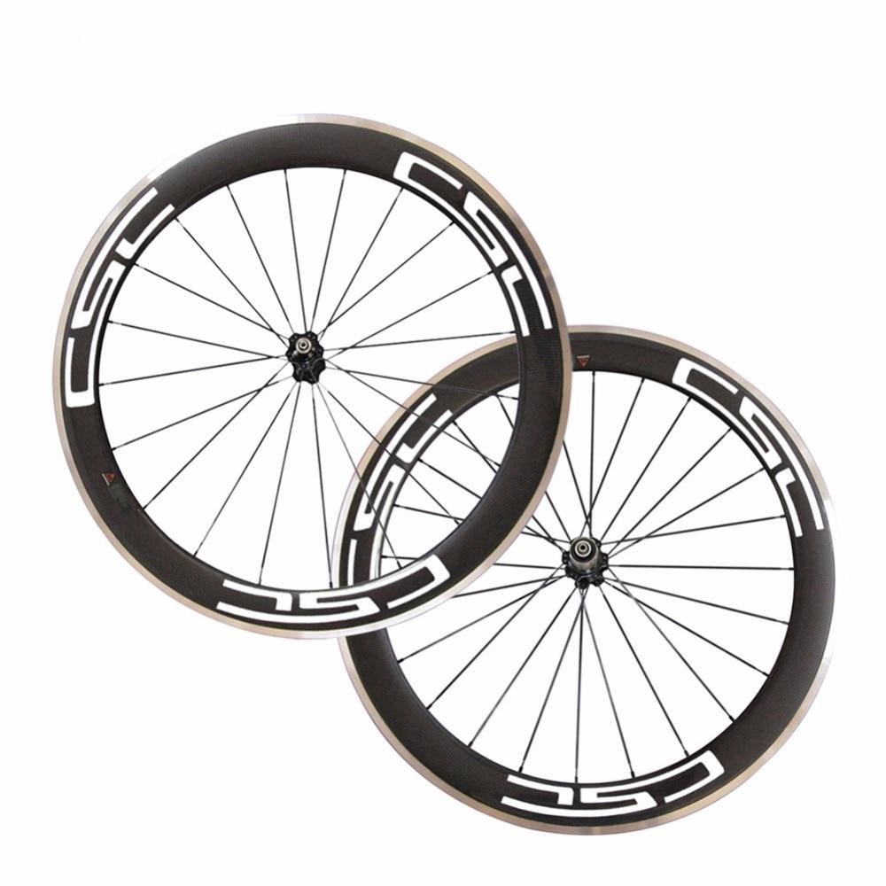 все цены на CSC 700C 25mm width 60mm depth clincher carbon bike wheels with Alloy brake track road bicycle aluminum wheelset 3K matte онлайн