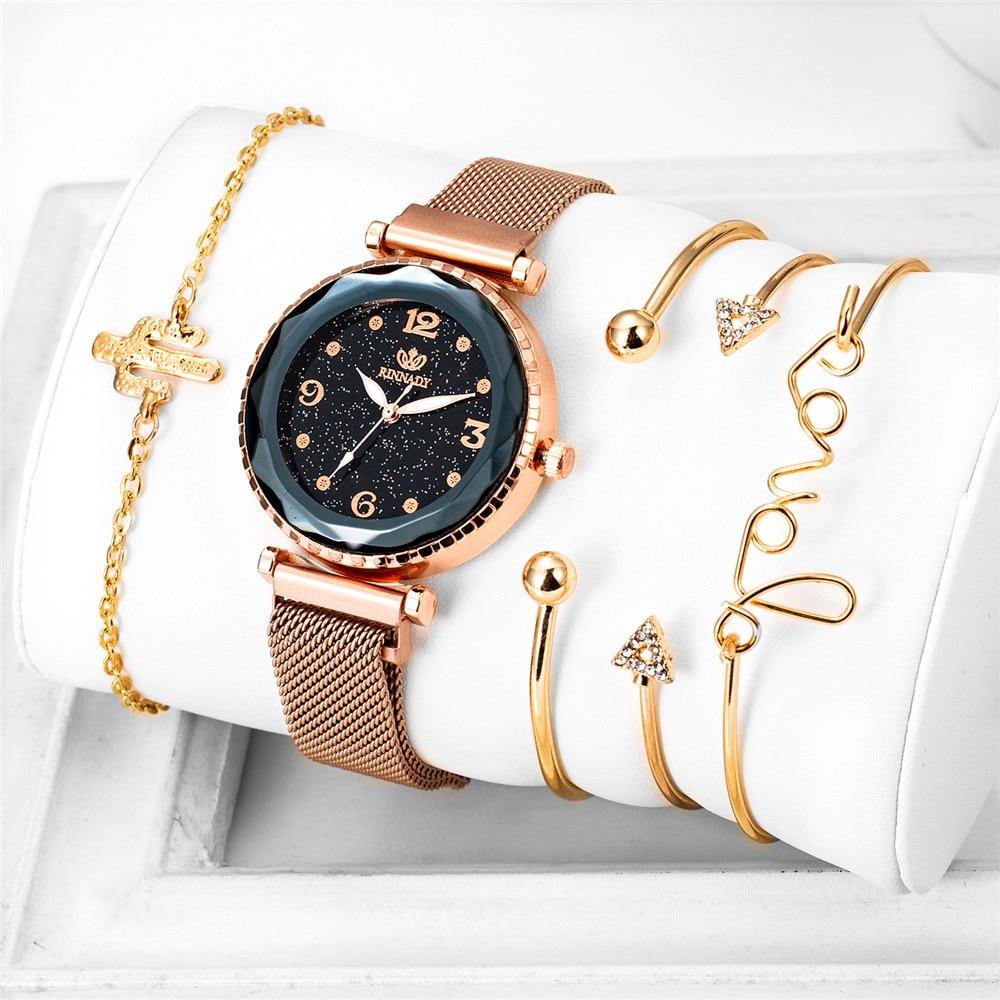 Luxury Women Watches 5pcs/Set Ladies Magnetic Starry Sky Watch Women Diamond Quartz Wrist Watch Relogio Feminino Zegarek Damski