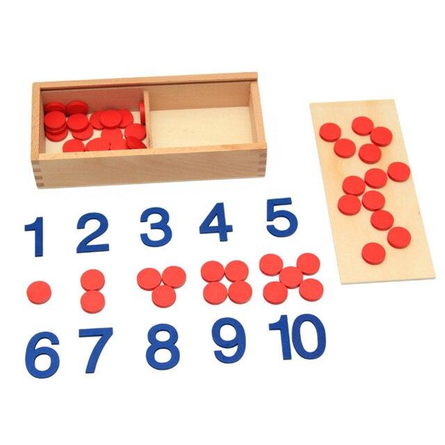 De Madera educativos Montessori juguete fichas de juego Digital juguetes de aprendizaje para niños en edad preescolar