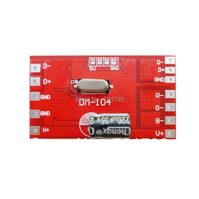 DM-104;3 channel RGB dmx constant voltage decoder,DC12-24V input,max 4A*3channel output