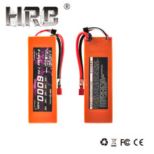 2pcs HRB Orange Hard Case Lipo Battery 7.4V 6000mah 60C 120C For 1/10 Scale Traxxas Car Truck Boat Drone Helicopter(China)