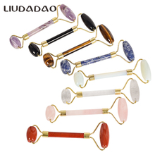 Natural Rose Quartz Face Rollers Double Head Crystal Stone Body Facial Neck Body Rollers Skin Care T