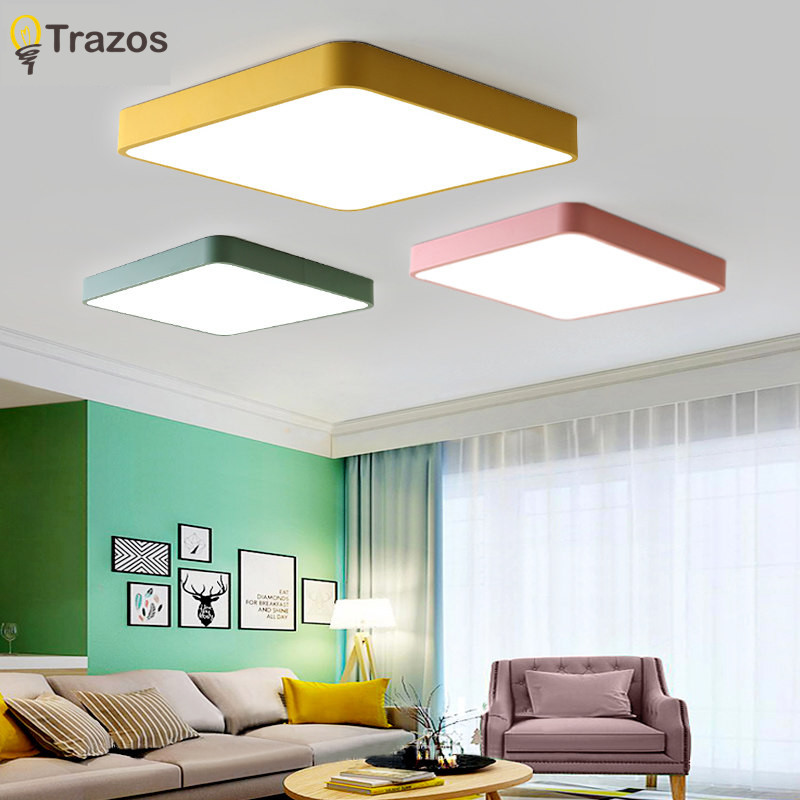 Modern Colored LED ceiling light square simple decoration fixtures study dining room balcony bedroom living room ceiling lamp modern led ceiling lamp aisle simple living room porch balcony study room long lamp