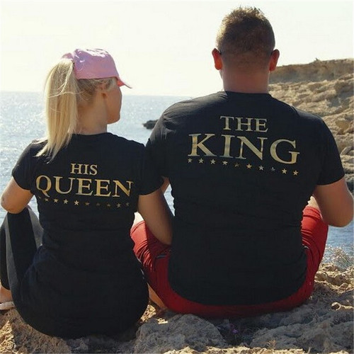 2018 King Queen Lovers Tee T Shirt Printing Couple Clothes Lovers Tee Shirt Femme Summer Casual O-neck Tops