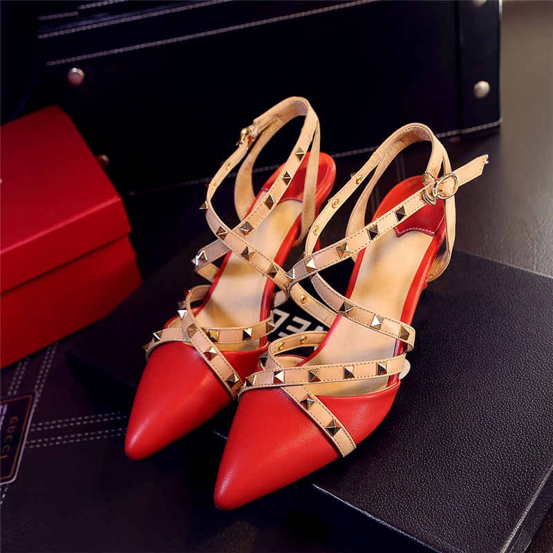 ФОТО 2017 New Fashion Brand Designer Rivet Ankle Strap Sandals Shoes Women Sexy Ladies High Heels Pointed Toe Solid Color Party Shoes