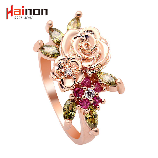 rose gold color My Princess Queen Rose Engagement Ring with red green CZ Authentic Lovely flower Jewelry birthday gift