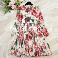 Svoryxiu 2018 Autumn Runway Custom 100% Silk Dress Women's Charming Peony Flower Print High End Party Dress