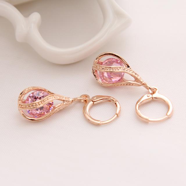 Gold Color Earrings for Women Long Stud Earing Crystal