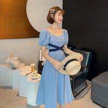 Vestido MIDI delgado de verano a la moda francesa coreana Retro de cintura alta Vestidos de Mujer azul negro lazo trasero-up Vintage Vestidos de Mujer 2019
