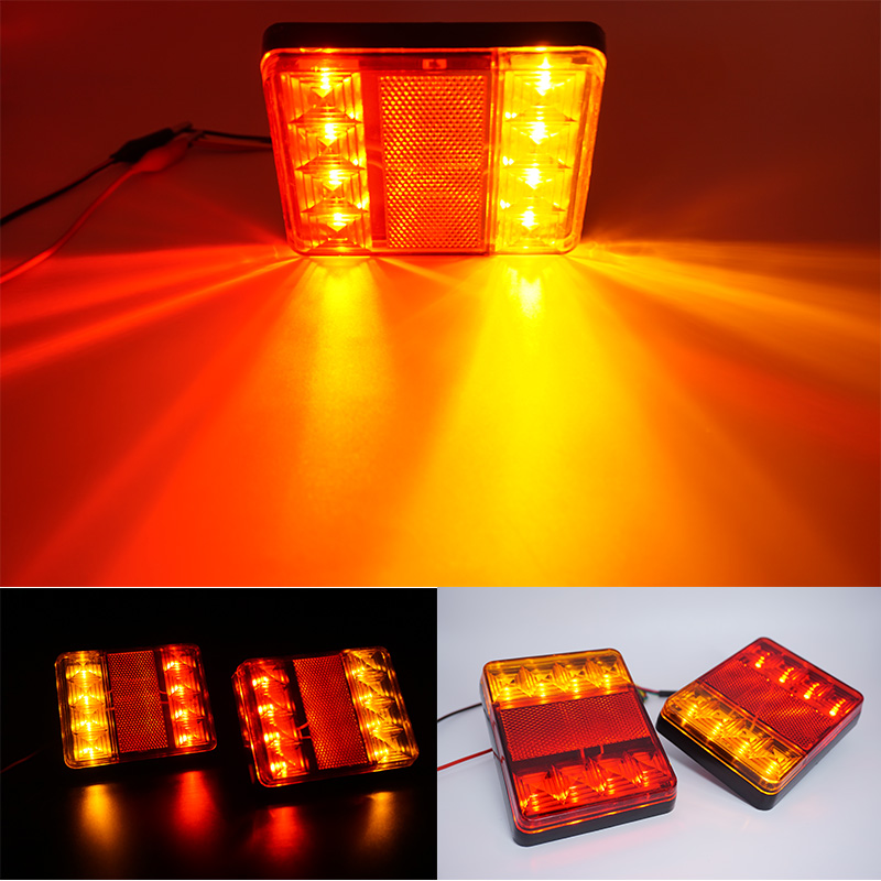 2Pcs 12V Waterproof 8 LED Car Tail Light Rear Lamps Pair Boat Rear Parts For Trailer Caravans UTE Campers Truck Car Lighting