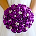 2017 Satin Bridal Bouquet Purple Pearls Beaded Brooch Wedding Bouquet Coral/Royal Blue/Red/Ivory Rose Bouquet De Mariage Strass
